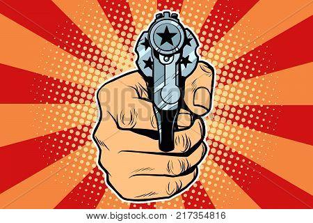 star revolver in hand. Pop art retro vector illustration