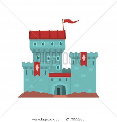 Cartoon blue castle with red heraldic flags on conical turret. Medieval royal building. Design for children s book cover, invitation card, web, mobile game. Flat vector illustration isolated on white.