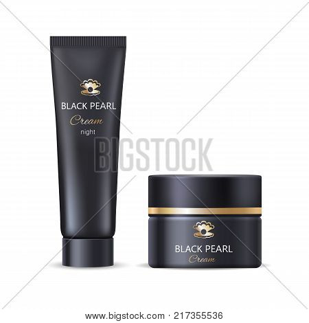 Black pearl night face or hand cream in bottle and tube daily care moisturization nourishment vector illustration realistic design for all skin types