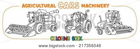 Combine harvester, lawn mower and tractor coloring book for kids. Small funny vector cute cars with eyes and mouth. Children vector illustration. Agricultural machinery coloring book set