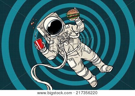 Astronaut in zero gravity with fast food. Pop art retro vector illustration