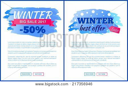 Winter sale best offer sign decorated with snowfall and bright discount value tag. Vector illustration with seasonal exclusive offer on white and text