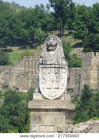 Entrance to Tsarevets Fortress and Patriarch Church on the Tsarevets hill in Veliko Tarnovo, Bulgaria
