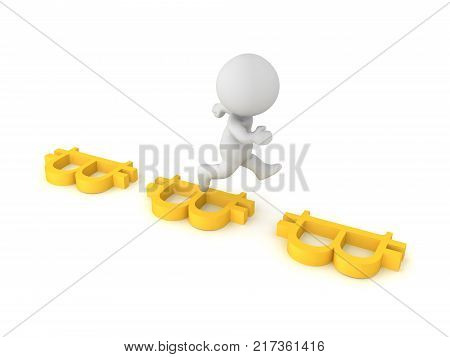 3D Character Leaping Between Two Bitcoin Symbols