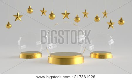 Three Glass domes with golden tray on white background with hanging white balls and stars ornaments. For new year or Christmas theme. 3D rendering.