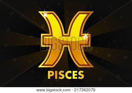 Vector Golden Zodiac Pisces On Black background, Set Astrology Signs