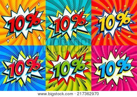Sale set. Sale Ten percent 10 off tags on a Comics style bang shape background. Pop art comic discount promotion banners. Seasonal discounts, Black Friday, cyber monday. Vector illustration