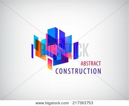 Vector abstract 3d construction, architecture structure, geometric composition