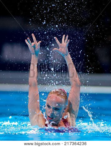 BARCELONA, SPAIN - JULY, 24: Sona Bernardova of Czech Republic during a Solo Synchronised Swimming event of World Championship BCN2013 on July 24, 2013 in Barcelona Spain