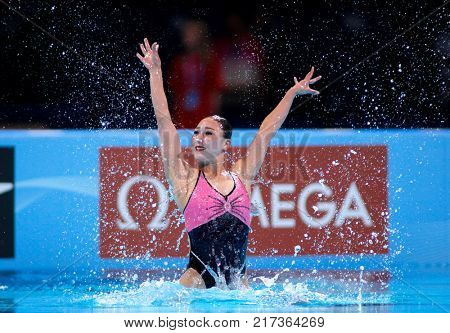 BARCELONA, SPAIN - JULY, 24: Ri Ji Hyang of P.R. Korea during a Solo Synchronised Swimming event of World Championship BCN2013 on July 24, 2013 in Barcelona Spain