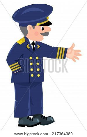 Skipper. Children vector illustration of funny captain or sailor, or yachtsman in uniform