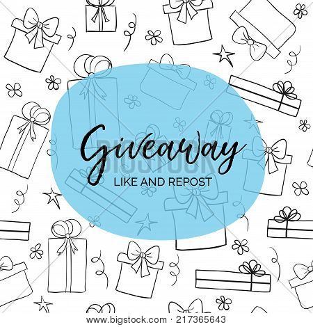 Giveaway. Like and repost. Vector template with gift boxes for blogs