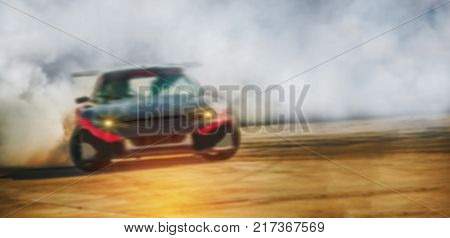 Blurred image of car drifting on race trackMotor sport concept.