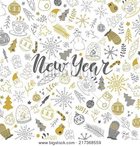 New Year hand drawn lettering and elements background. Stock vector