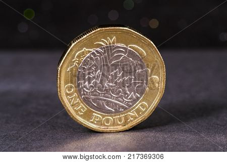 Close-up of a British One Pound coin.