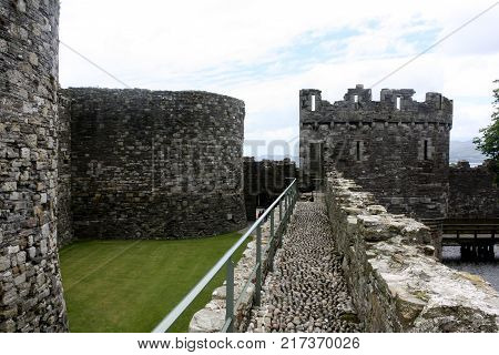 The view along the castle walls to the turret in Beaumaris