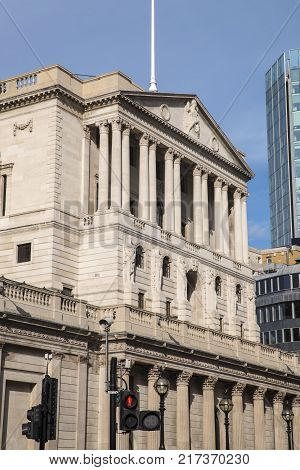 LONDON, OCTOBER 6TH 2017: The exterior of the Bank of England building in the City of London UK, on 6th October 2017.