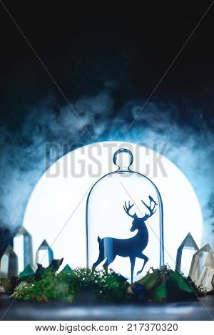 Magical forest with crystals and deer silhouette in a light of full Moon. Still life with glass dome and moss. Fairy tale concept with dark background and copy space.