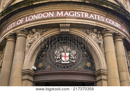LONDON UK - OCTOBER 6TH 2017: A view of the entrance to the City of London Magistrates Court located on Queen Victoria Street in London UK on 6th October 2017.