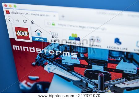 LONDON UK - NOVEMBER 28TH 2017: The homepage of the official website for Lego - the line of plastic construction toys that are manufactured by The Lego Group on 28th November 2017.