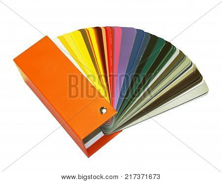 open RAL sample colors catalogue on a white background