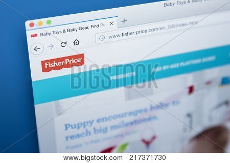 LONDON UK - NOVEMBER 28TH 2017: The homepage of the official website for Fisher-Price - the American company that produces educational toys on 28th November 2017.
