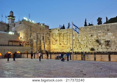 Jerusalem Israel - March 29 2015: Western Wall on the Temple Mount in the Old City of Jerusalem. Western Wall or Wailing Wall in Jerusalem is a major Jewish sacred place