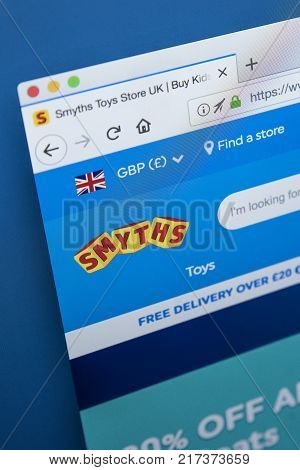 LONDON UK - NOVEMBER 28TH 2017: The homepage of the official website for Smyths - the Irish toys retailer on 28th November 2017.