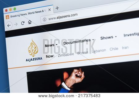 LONDON UK - NOVEMBER 22ND 2017: The homepage of the official website for the Al Jazeera Media Network - the Middle Eastern multinational multimedia conglomerate on 22nd November 22nd 2017.