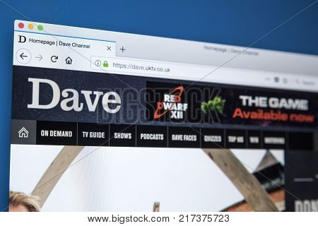 LONDON UK - NOVEMBER 22ND 2017: The homepage of the official website for the Dave TV channel - the British television channel owned by UKTV on 22nd November 22nd 2017.
