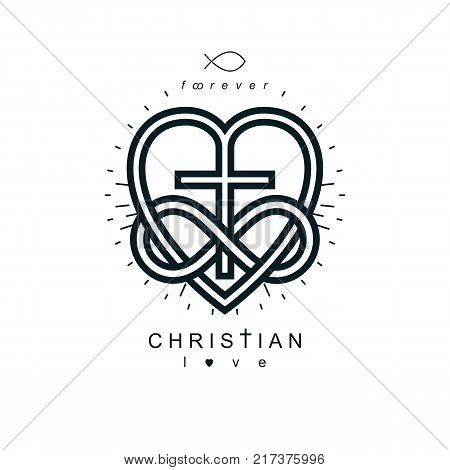Immortal Love of God conceptual symbol combined with infinity loop sign and Christian Cross with heart vector creative logo.