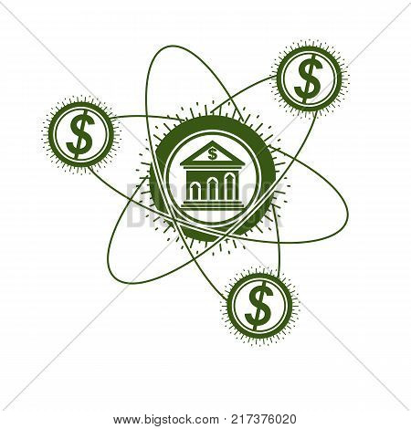 Banking conceptual logo unique vector symbol. Banking system. The Global Financial System. Circulation of Money.