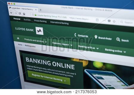 LONDON UK - NOVEMBER 22ND 2017: The homepage of the Online Banking area on the Lloyds bank website on 22nd November 22nd 2017.