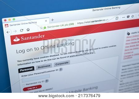 LONDON UK - NOVEMBER 22ND 2017: The homepage of the Online Banking area on the Santander bank website on 22nd November 22nd 2017.