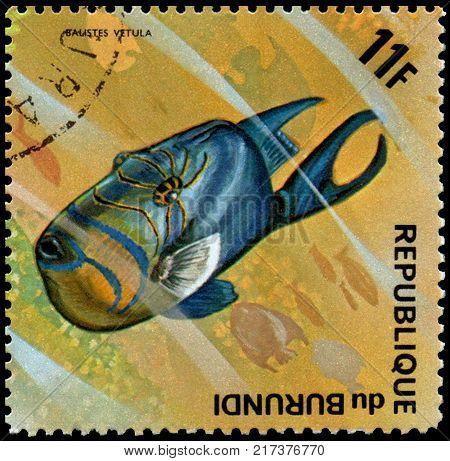 REPUBLIC OF BURUNDI - CIRCA 1974: a postage stamp, printed in Burundi, shows a fish Queen Triggerfish (Balistes vetula)