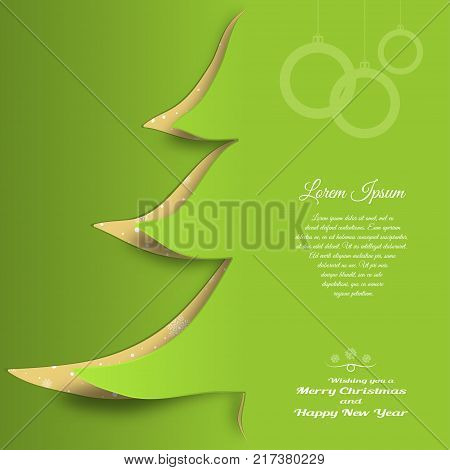 Vector cardboard art for Merry Christmas and Happy New Year with cutout silhouette in the form of a green Christmas tree text on the green gradient background.