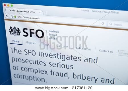 LONDON UK - NOVEMBER 17TH 2017: The homepage of the official website for the Serious Fraud Office - the non-ministerial UK government department on 17th November 2017.