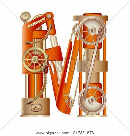 The letter M of the Latin alphabet, made in the form of a mechanism with moving and stationary parts on a steam, hydraulic or pneumatic draft. Isolated freely editable object on white background.