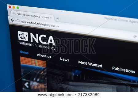 LONDON UK - NOVEMBER 17TH 2017: The homepage of the official website for the National Crime Agency - the national law enforcement agency in the UK on 17th November 2017.