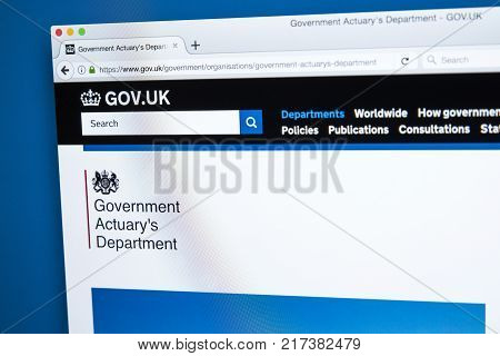 LONDON UK - NOVEMBER 17TH 2017: The homepage of the official website for the Government Actuarys Department - the UK government department responsible for providing actuarial advice to public sector clients on 17th November 2017.