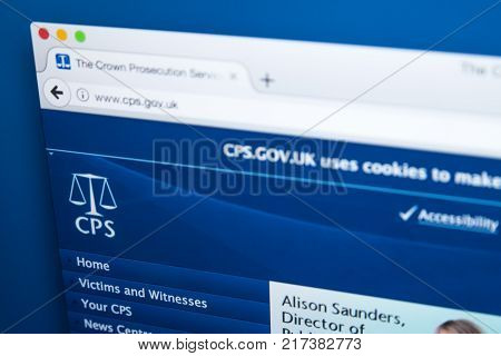 LONDON UK - NOVEMBER 17TH 2017: The homepage of the official website for the Crown Prosecution Service - the principal prosecuting agency for conducting criminal prosecutions in England and Wales on 17th November 2017.