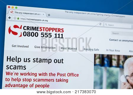 LONDON UK - NOVEMBER 17TH 2017: The homepage of the official website for Crimestoppers - the independent crime-fighting organisation in the UK on 17th November 2017.