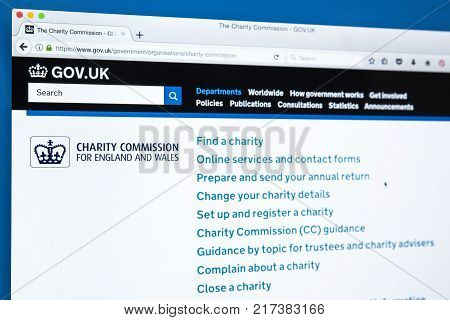 LONDON UK - NOVEMBER 17TH 2017: The homepage of the official website for the Charity Commission for England and Wales on 17th November 2017.
