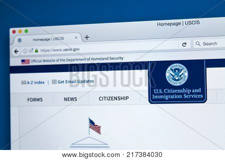 LONDON UK - NOVEMBER 17TH 2017: The homepage of the official website for the United States Citizenship and Immigration Services on 17th November 2017.