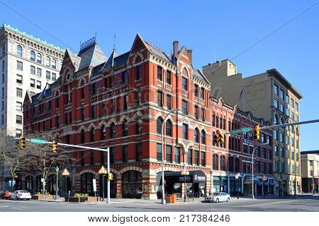 SYRACUSE, NY, USA - APR. 29, 2012: Historic White Memorial Building was built in 1876 with Victorian Gothic style on 100 East Washington Street in downtown Syracuse, New York State, USA.