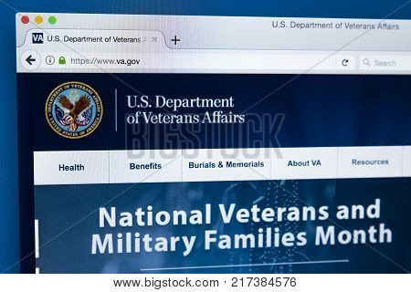 LONDON UK - NOVEMBER 17TH 2017: The homepage of the official website for the United States Department of Veterans Affairs on 17th November 2017.