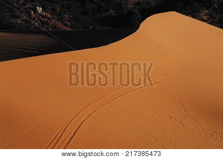 An abstract of a huge red sand dune in Arizona.  Note the dune buggy tracks.