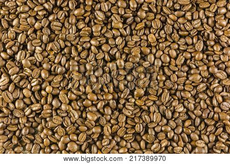 Grains of roasted coffee as a texture.