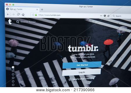 LONDON UK - NOVEMBER 20TH 2017: The homepage of the official website for Tumblr - the microblogging and social networking website on 20th November 2017.