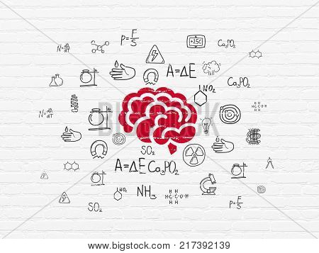 Science concept: Painted red Brain icon on White Brick wall background with  Hand Drawn Science Icons